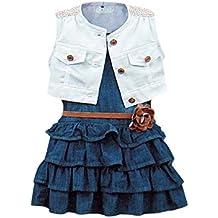 BOBORA vestino di jeans denim a pieghe, giacca in jeans, cintura con fiore cintura, per bambina, 2-6 anni