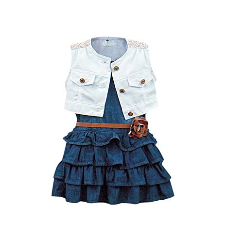 Brightup 2pcs Girls Kids Baby Summer Denim Dress Party Tutu Skirt Dress Vest Tops 2-7Y