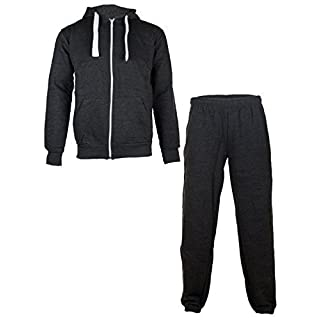 Love My Fashions® Men Tracksuit Joggers Bottoms Zip Up Fleece Sports Gym Hoodie Drawstring Long Sleeves Warm Trouser Top Plus Size Charcoal