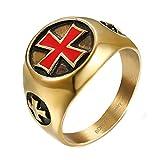 BOBIJOO Jewelry - Anillo De Sello De La Cruz Roja De San Juan De Malta Chapado En Oro Dorado De La Orden De Los Templarios De Acero - 24 (11 US), Dorado - Acero Inoxidable 316