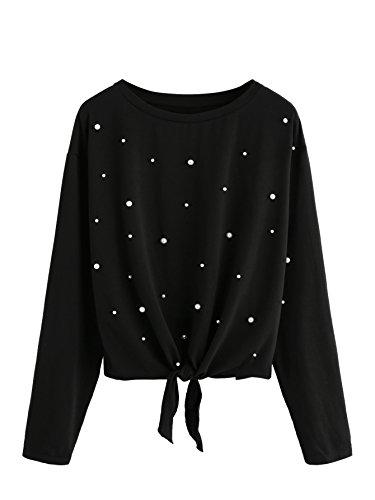 ROMWE Damen Langarm T-Shirt mit Perlen Knoten Kurz Oberteil Langarmshirt Schwarz S