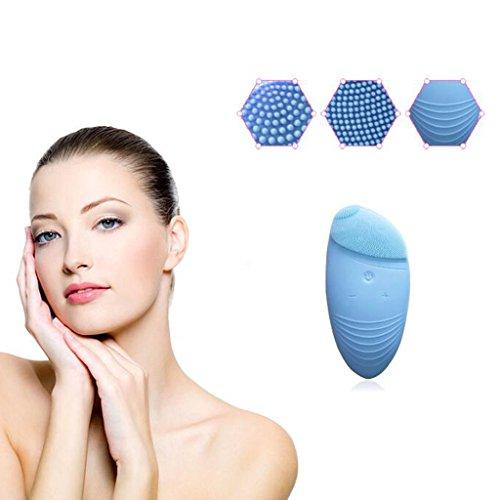Elektrische Gesichtsreinigungsbürsten-Silikon-Wäsche-Instrument-Ultraschallreinigungs-Gesichtsbürsten-Schönheits-Gesichts-Massage-Instrument ( Farbe : Blau )