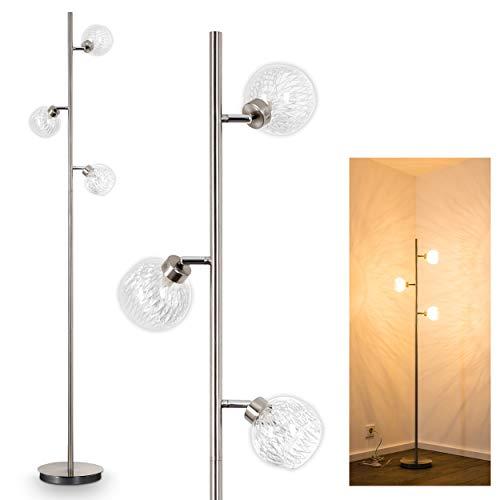 Lampadaire Iskuras en métal/nickel mat - Luminaire à 3 spots pivotants individuellement - avec interrupteur au pied sur câble