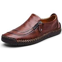 Mocasín de Cuero para Hombre Zapatos cómodos y Ligeros de Punta Redonda Pisos Mocasines Antideslizantes Zapatos