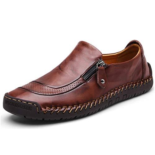 27a145906 Mocasín de Cuero para Hombre Zapatos cómodos y Ligeros de Punta Redonda  Pisos Mocasines Antideslizantes Zapatos