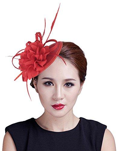 GEMVIE Damen Blumen Kopfschmuck Minihut Hochzeit Fascinator Hut Party Rot
