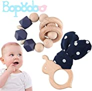 bopoobo 2pc Natural Wooden Rattle Baby Teether Bracelet Silicone Beads Perfect Grab Teething Toy Montessori Sh