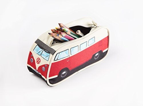VW - Estuche (diseño de furgoneta Camper), color rojo