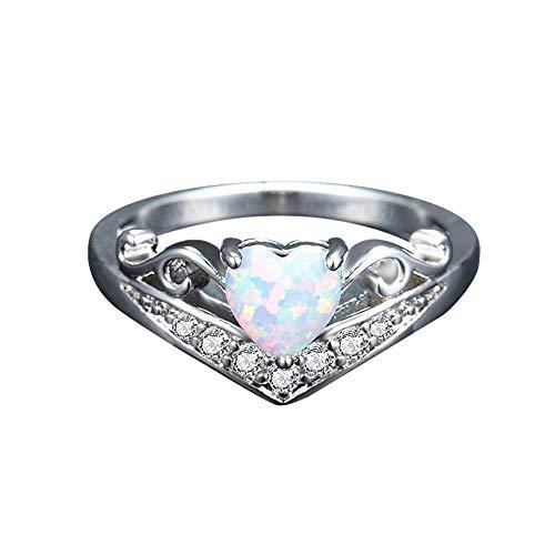 Exquisite Frauen Silber Ring oval Cut feueropal Diamant Band Ringe YunYoud vorsteckring freundschaftsringe partnerringe aufsteckringe dünne bundesringe