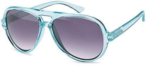 (SAMBORA® 3934-4 Unisex Sonnenbrille UV400 Schutz Aviator Style - Rahmen: Türkis Glas: Dunkel)