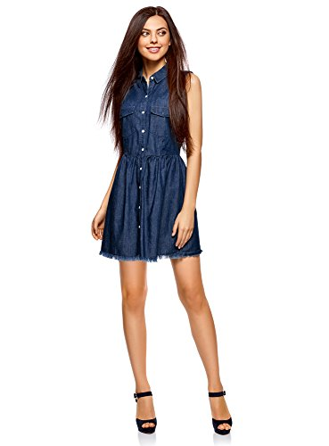 oodji Ultra Damen Jeans-Kleid mit Knöpfen, Blau, DE 34 / EU 36 / XS