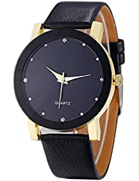 Fami-Montre Luxe Quartz Sport Militaire en acier inoxydable Cadran en cuir Band Watch Wrist Watch (Or)
