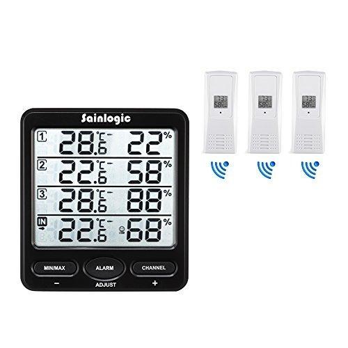 Wetterstation,Sainlogic Funk Thermometer Hygrometer Digital Wetterstationen mit 3 Innen/Außen 8-Kanal Außensensor Luftfeuchte LCD Display Min/max