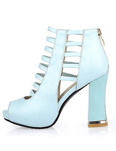 UWSZZ IL Sandali eleganti comfort Scarpe Donna-Sandali-Casual-Tacchi / Spuntate-Quadrato-Finta pelle-Nero / Blu / Rosa / Tessuto almond Blue