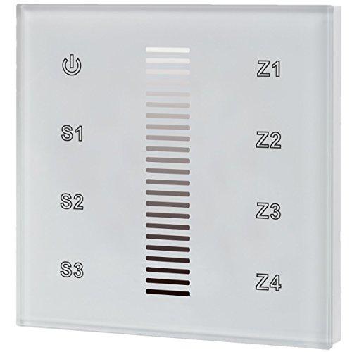 iluminize Touch Wand-Dimmer Funk: für weiße LEDs, 4 Zonen, 230V Anschluss, Schalterdosen-Installation, KEIN Universal-Gerät: Funk Controller ist erforderlich (für weiße LEDs) -