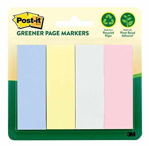 Post-it Greener página marcadores, Helsinki Collection, 1en X 3en, 4Pads/paquete, 50hojas/pad (671–4rp-a)