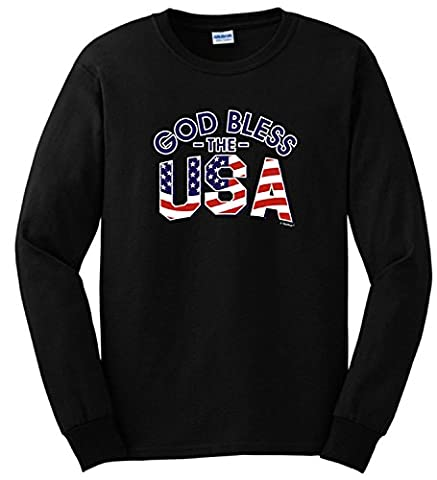 Christian Gifts God Bless the USA American Flag Long Sleeve T-Shirt XX-Large Military Green