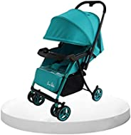 Cutieco One Hand Fold Large Seating Capacity, Travel-Friendly Baby Stroller Buggy with Food Tray for Baby/Kids