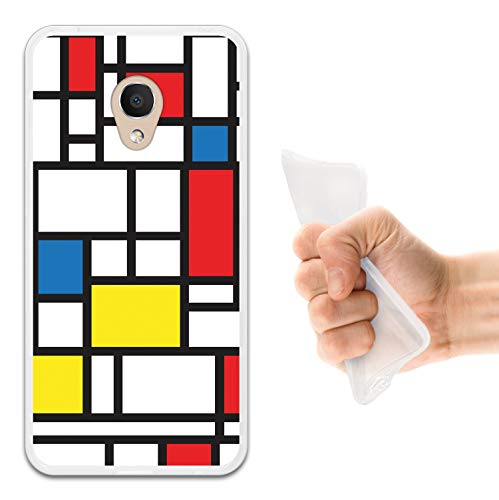 WoowCase Alcatel 1C DUAL SIM Hülle, Handyhülle Silikon für [ Alcatel 1C DUAL SIM ] Mondrian Stil Rechtecke Handytasche Handy Cover Case Schutzhülle Flexible TPU - Transparent