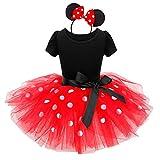 TTYAOVO Baby 2pcs Vestiti Set, Ragazze Cute Cartoon Outfits Neonate Stampato Top T-Shirt + Tutu Skirt per 1-7 Anni (6-9 Mesi, 12 Rosso)