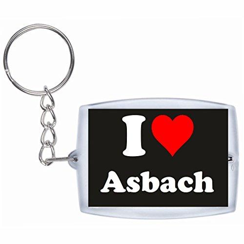 """Preisvergleich Produktbild Exklusive Geschenkidee: Schlüsselanhänger """"I Love Asbach"""" in Schwarz, eine tolle Geschenkidee die von Herzen kommt - Rucksackanhänger- Weihnachts Geschenktipp"""