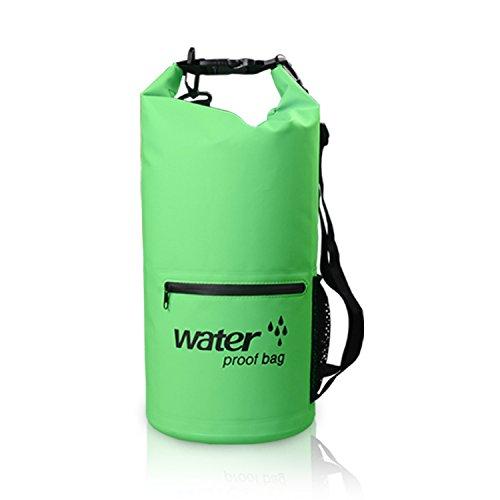 C-bag Wasserdichte Tasche/Trockentasche/Dry Bag Sack 20 L Grün Wasserdichte Rucksack für Camping Boote Schwimmen Radeln Motor Doppelte Schulter-Gurten (20 Liter, Grün) - Doppelte Wellen-motor