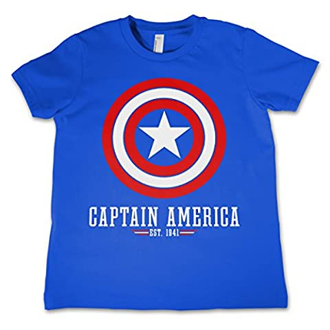 Officially Licensed Merchandise Captain America Logo Kids T-Shirt - Blue 5/6 Years