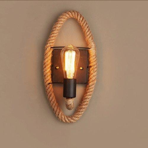 Vinteen lampada da parete a testa unica american village hemp rope vento industriale retro ristorante bar cafe lampada da parete aisle lampada da parete personalità creativa (rotondo / ovale) ( dimensione : oval )