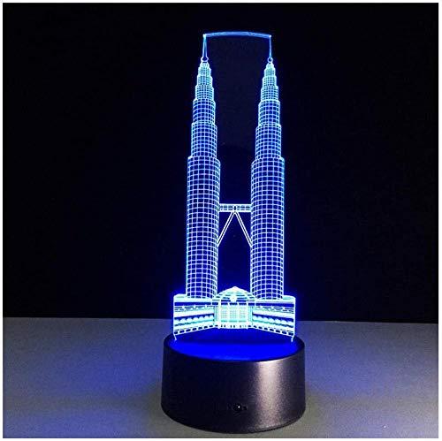 Nachtlicht Twin Towers Building 7 Farblampe 3D Visual LED Nachtlichter für Kinder Touch USB Tischlampe Baby Sleeping Nightlight -