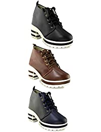 TEQTO Women's Black, Brown And Blue Pack Of 3 Ankle Boots {Combo-26}