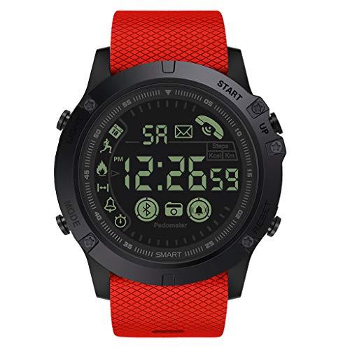 Janly_Intelligent Flaggschiff Rugged Smartwatch 33 Monate Standby Zeit 24h Allwetter Überwachung (Rot) -