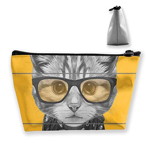Trapez-Kulturbeutel Tragbare Reisetasche Coole Katze mit Brille und Schal Make-up-Tasche