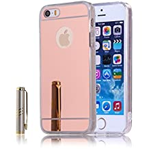 CaseforYou Funda iPhone SE 5SE 5 5S Caso Ultra Slim Fit Shockproof TPU Bumper Frame with Efecto espejo PC Snap-On Back Case Cover Protector Shell for iPhone SE 5SE 5 5S Teléfono inteligente (Oro rosa)