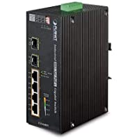 Planet IGS-624HPT الصناعية 4 منافذ 10/100/1000T 802. 3at PoE+ مع 2 منفذ 100/1000X SFP مفتاح إيثرنت