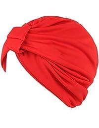 LHWY La Mujer India Dorado Stretch Turbante Hat Quimio Cap La Perdida De Cabello Cabeza Bufanda Chal