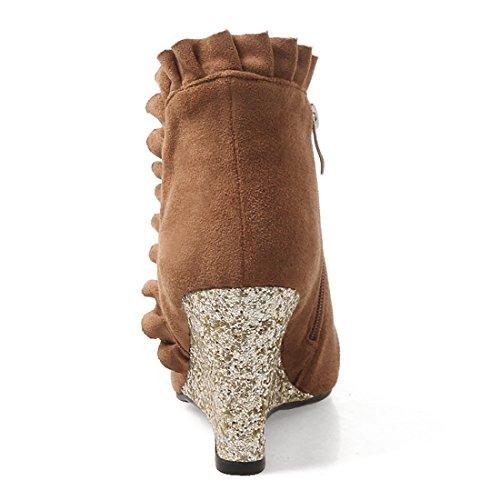 avec Fourrure Lhiver Pointu Dentelles Femmes Marron UH Talon 2017 Bout avec Chaussures Chaud Bottines pour Compensees XBnqfp1
