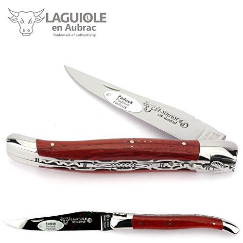 LAGUIOLE en Aubrac Taschenmesser L0712PKIFI 12 cm Doppelplatine, Griffschalen Padouk, Klinge 10 cm glänzend, Backen glänzend