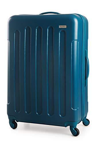 Suitline S3 - Valigia stiva di grandi dimensioni, dura ABS, 4 ruote, 77 cm, 93 L, Blu Petrolio