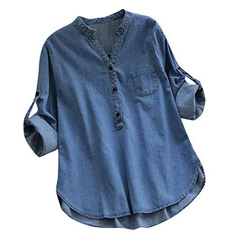 NPRADLA Maglietta Manica Lunga Donna Elegante Camicia con Bottoni con Bottoni Asimmetrici in Denim Casual Scont Inverno Autunno