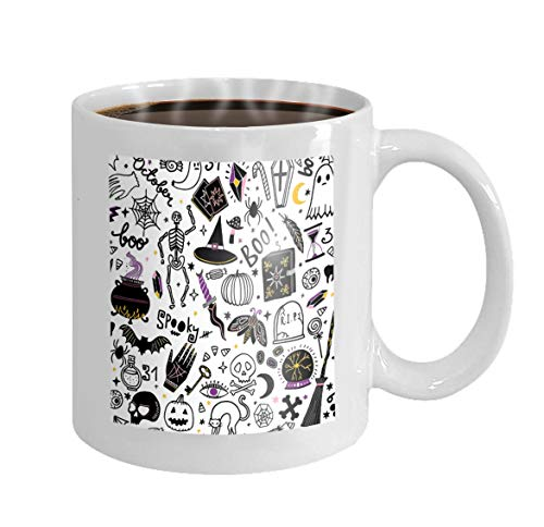 Custom Mugs White Ceramic 11 Oz halloween seamless pattern magic background collection