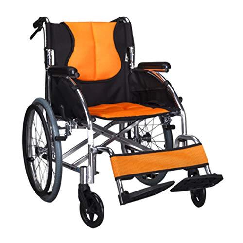 Leichtgewicht-faltrollstuhl (SXTYRL Aluminium Rollstuhl faltbar Leichtgewicht Faltrollstuhl leicht Transportrollstuhl selbstantrieb mit Handbremsen und Sicherheitsgurt 100kg Benutzergewicht,20inchbigwheel)