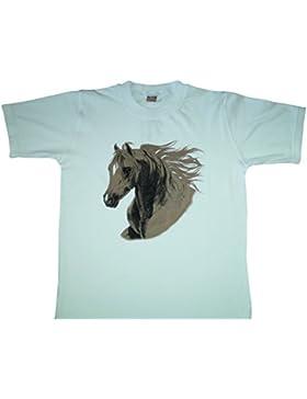 Kinder Weißes T-Shirt mit Pferd Horse Motive Kids Collection Unisex Alter 8 - 14 Jahre, Größe 128 - 164