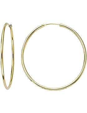 Ohrringe, Creolen, Gelbgold 585 / 14 K, Außendurchmesser 30 mm, Breite 1.8 mm, Gewicht ca. 1.2 g., NEU