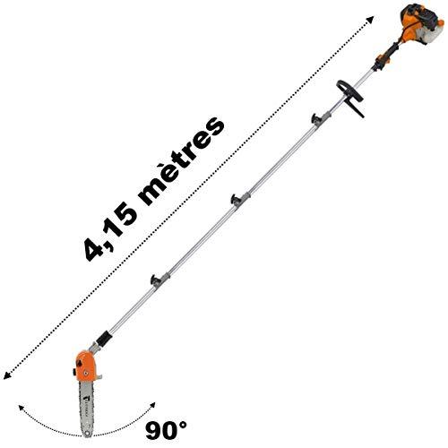 GT Garden Élagueuse Thermique sur Perche avec tête orientable, 52 cm3, 3 CV, Longueur 4.15 mètres