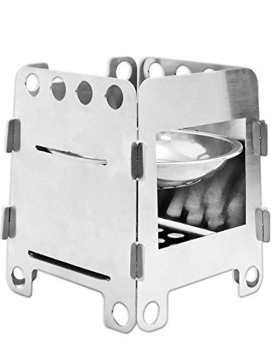 OUTDOOR SAXX® - Zerlegbarer Kompakter Stove | für Esbit Holz und Flüssig-Brennstoff | Kocher, für Picknick, Wandern, unterwegs | Edelstahl mit Tasche (Holz Campingkocher)
