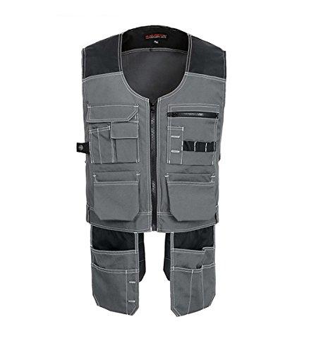 Professionale Werkzeugweste Herren, Multifunktionelle Arbeitsweste, Montageweste mit viele Taschen, Dunkelblau \Grau (xl, Grau) (Handschuh Schwarz Carhartt)