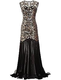a6b821dff016 Ohlees Donna 1920s Vestito Paillettes Maxi Lungo Falda Abito Anni 20  Flapper Dress Sera Cocktail Senza