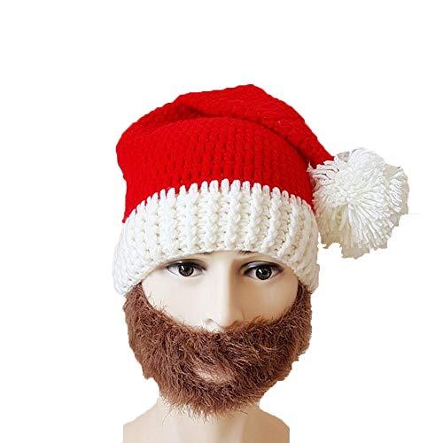 Huichao Chapeau de Noël d'automne et d'hiver,Chapeau tricoté à la Main, Hommes et Femmes,Brown