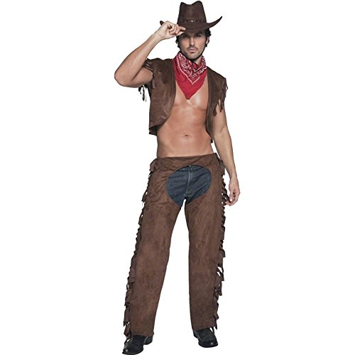 "SMIFFYS Smiffy's Costume Fever da Cowboy 'Ride Em High', con Panciotto, Pantaloni e Sciarpa, Colore Marrone, M-Dimensione 38""-40"", 34105M"