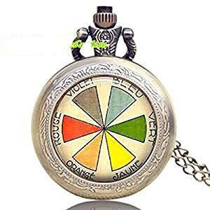 Halskette mit Farbrad für Uhr, Künstler, Geschenk, Vintage, Französische Kunst Lehrer, Schmuck Maler, Anhänger Armbanduhr